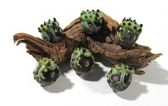 FROG Ball Hugger Lampwork Beads Focal Glass Beads Six (6) Small Frog Handmade Glass Beads Vintage Jewelry Beading Supplies (Y155) by punksrus on Etsy