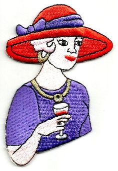 Red Hat Lady W/Wine Embroidered Iron On Applique