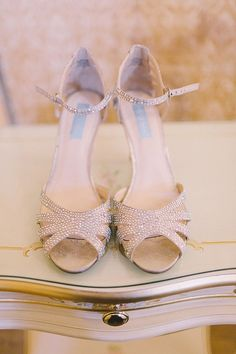 Cream heeled sandals with diamante detail. For more inspiration visit www.weddingsite.co.uk