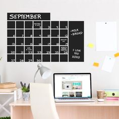 Chalkboard Calendar Wide Wall Decals and Stickers For Wall Decor
