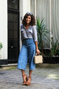 spring / summer - street chic style - street style - summer outfits - casual outfits - getaway outfits - beach outfits - travel outfits - nude structured shoulder bag + mirror sunglasses + navy and white multi-stripe shirt + brown wedges + denim culottes