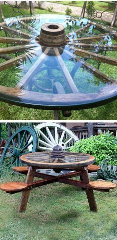 Super picnic table created from an up-cycled wagon wheel.