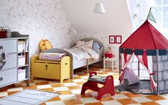 Need some ideas for your toddler's bedroom? Add bright accessories in red and canary yellow to liven up its space. Meanwhile, payhouses (pictured: Beboelig tent from Ikea) are fun for imaginative play as well as nap time if kitted out with comfy cushions and blankets. Get more inspiration at housebeautiful.co.uk