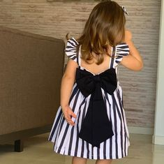 Girls Blue Striped Ruffle Sleeveless Hi-Low Dress African Dresses For Kids, Kids Outfits Girls, Little Girl Dresses, Girl Outfits, Kids Dress Wear, Kids Gown, Baby Frocks Designs, Kids Frocks Design, Baby Girl Frocks