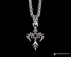 "NightRider Jewelry ""Aldric Cross"" Skull Cross Pendant in Sterling Silver 