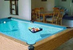 The top of the pool table is full of water..pretty cool idea :)