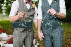 Hampshire Slate wedding Mr and Mr Signs - Autumn Wedding Inspiration ~  A Romantic Field Picnic, Rustic Barn, Bow Ties and Tweed
