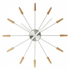Premier Housewares Stainless Steel Spoke Wall Clock with Natural Wood Ends and Silver Hands, 58 x 58 x 4 cm