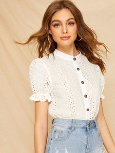 To find out about the Eyelet Embroidery Button Front Blouse at SHEIN, part of our latest Blouses ready to shop online today! Classy Outfits, Girl Outfits, Mesh Dress, Eyelet Dress, Fashion Design Sketches, Beautiful Blouses, Fashion Tips For Women, Summer Dresses For Women, Stylish Dresses