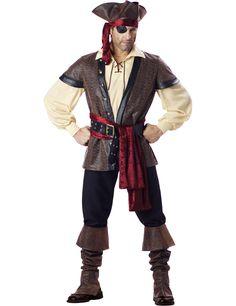 Déguisement Pirate pour homme - Premium : Ce déguisement pour adultes est composé d'une chemise, d'un gilet, d'une ceinture, d'un pan de velours rouge, d'un cache-œil, d'un chapeau et...