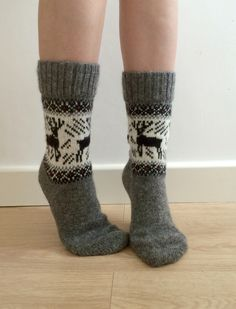 Hand Knitted Wool Socks Grey Black White Ombre Unisex ANdb1H8PN