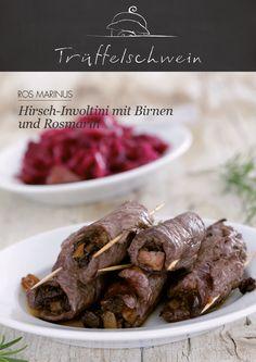 Hirsch-Involtini mit Birnen und Rosmarin