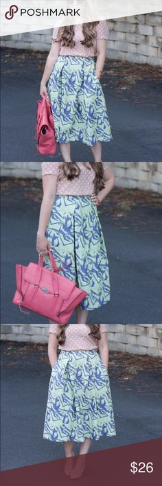 Asos blue & mint midi skirt Love love this full midi skirt from Asos! Has pockets! Styling possibilities are endless! Worn & loved but still in great condition! ASOS Skirts Midi
