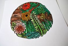 water colored linocut print // floral orb I by BlackWoodPrintShop