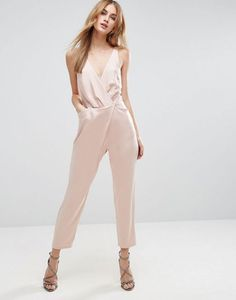 ASOS Nude Cami Wrap Jumpsuit with Peg Leg In Satin