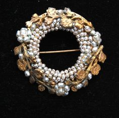 Miriam Haskell Small Pearl and Russian Gold Plating Brooch