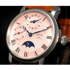 42mm parnis Pink Dial SS Case gmt Moon Phase Leather strap Automatic Mechanical men's Watch Moon Phases, Omega Watch, Watches For Men, Pink, Leather, Accessories, Men's Watches, Pink Hair, Roses
