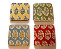 Vintage Paisley Flowers Coasters Wood Cork Floral by YellowMod