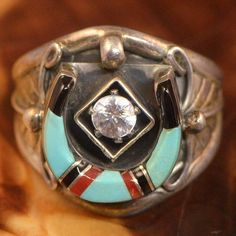 Vintage Sterling Silver - SOUTHWESTERN Turquoise, Coral, Onyx, & CZ Horseshoe - Ring 11 (Men's) (071)