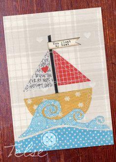 "Postkarte ""You float my boat""   von Telse Ahrweiler       Kunst + Design auf DaWanda.com"
