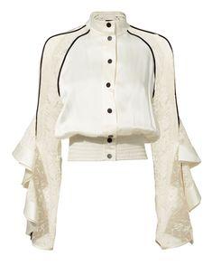 DAVID KOMA Ruffled Lace Jacket. #davidkoma #cloth # Stage Outfits, Fashion Outfits, Womens Fashion, Pretty Outfits, Cute Outfits, David Koma, Looks Chic, Lace Jacket, Mode Style