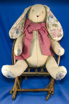 """Rabbit Bunny Jointed 11"""" Old Stuffed Button Eyes Stitching VTG Country"""