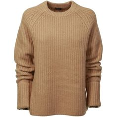 Joseph Sweaters (790 BGN) ❤ liked on Polyvore featuring tops, sweaters, camel, rib knit sweater, round top, raglan sleeve top, beige top and ribbed sweater
