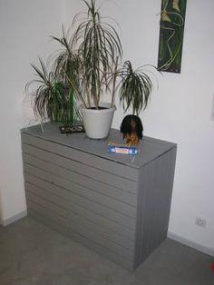 Pallet Hidden Desk / Hidden Desk In Recycled Pallets, Hidden Desk, Pallet Potting Bench, Pallet Desk, Recycled Pallets, Wooden Pallets, Handmade Furniture, Diy Furniture, Recycler Diy, 1001 Palettes