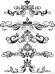 Illustration about Some beautiufl black ornaments for design. Illustration of decoration, clipart, calligraphy - 22272723 Stencil Patterns, Stencil Designs, Textile Patterns, Rose Tattoos, Body Art Tattoos, Swirl Nail Art, Tattoos To Cover Scars, Arte Tribal, Tattoo Project