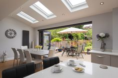 Like the sky lights. Would prefer the doors to have larger panes of glass Open Plan Kitchen Dining Living, Open Plan Kitchen Diner, Kitchen Diner Extension, Open Plan Living, Living Room Kitchen, House Extension Plans, House Extension Design, House Design, Rear Extension