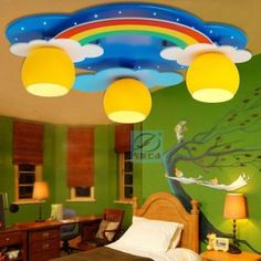 light lights up light on sale at reasonable prices, buy Dong Yan children led ceiling lighting ideas bedroom children's room baby cartoon rainbow lights from mobile site on Aliexpress Now! Led Bedroom Ceiling Lights, Ceiling Decor, Led Ceiling, Bedroom Lighting, Ceiling Lighting, Girl Bedroom Designs, Kids Bedroom, Kids Room Lighting, Lighting Ideas