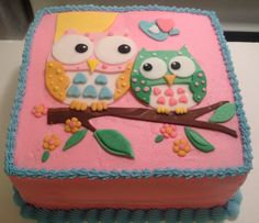 Owl baby shower cake by Cuppiecakes