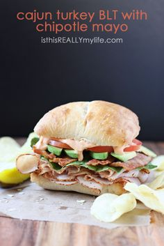 Cajun turkey BLT with chipotle mayo! Great flavours! Includes the chipotle mayo recipe too which sounds great!