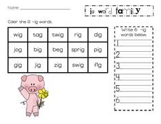 Lory's Page: FREEBIE...Word Family Unit addition... ig