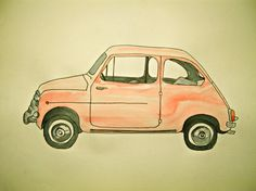 Watercolor Doodle of Red Fiat Watercolor Illustration, Travel Around The World, Vintage Art, Sailing, Doodles, Artsy, Vroom Vroom, Chocolates, Nutella