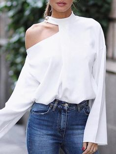 Pure Color Leakage Shoulder Long Sleeve blouses for women chic blouses for women casual blouses outfit cute blouses blouses for women work business casual Shirt Outfit, T Shirt, Outfit Jeans, Winter Fashion Casual, Winter Style, Look Chic, Shirt Blouses, Blouses For Women, Long Sleeve Shirts