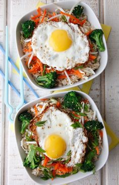 Asian Rice Bowls with Egg #rice #egg #recipe