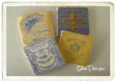 Set of 4 Blue and Yellow Antiqued Marble Tile by Obeedesigns, $24.00