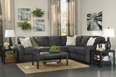 Ashley Alenya Sectional Sofa with Left Arm Facing Loveseat Right Arm Facing Sofa Pillows with Print Pattern and Track Arms in Charcoal Sectional, 3 Piece Sectional Sofa, Sofa Set, Fabric Sectional, Gray Sectional, Sofa Pillows, Modern Sectional, Seat Cushions, Home Decor