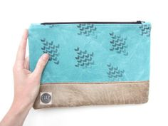 turquoise waxed canvas and leather clutch canvas by CIREonEtsy, £25.00 hand-rpinted
