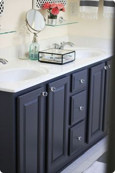 great inspiration for painting an older oak vanity
