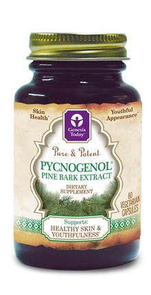 Genesis Today's Pure & Potent Pycnogenol® is a botanical extract derived from French maritime pine bark and composed of flavonoids, procyanidins and phenolic acids that are bioavailable. This natural plant extract is thought to support naturally beautiful skin from the inside out. $23.99