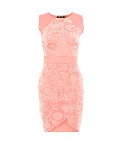 Coral (Orange) Dream Coral Flocked Floral Sleeveless Dress   278588183   New Look
