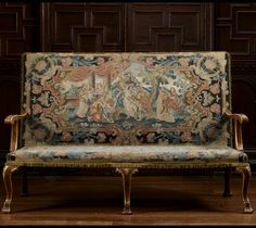 Figured walnut and gilt sofa with embroidered upholstery depicting a scene from the History of Troy, 1720s, formerly at Chicheley Hall. Accepted by HM Government in lieu of inheritance tax and allocated to the National Trust for display at Montacute. ©National Trust Images/Paul Highnam