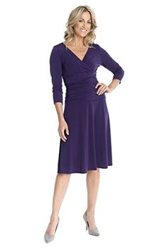Rekucci Womens Slimming 34 Sleeve FitandFlare Crossover Tummy Control Dress 14Aubergine * Learn more by visiting the image link.
