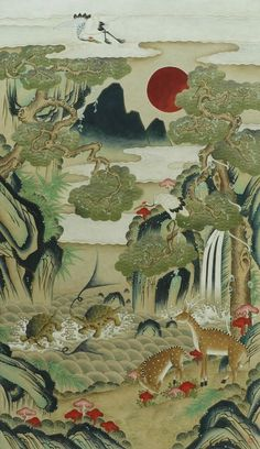 (Korea) Ten longevity symbols by unknown artist. ca century CE. Museum of Philadelphia, usa. Egyptian Drawings, Japanese Drawings, Japanese Art, Korean Art, Asian Art, Traditional Paintings, Traditional Art, Art And Illustration, Fantasy Kunst
