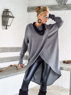 Taupe Warm Wool Knitted Asymmetric Blouse / Off by SynthiaCouture
