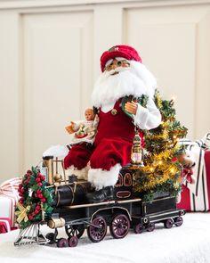 Karen Didion Lighted Santa in Train