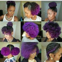 Hair care ideas : purple hair heaven - beauty haircut home o Pelo Natural, Natural Hair Care, Natural Hair Styles, Natural Curls, Afro Hair Style, Curly Hair Styles, Girl Hairstyles, Braided Hairstyles, Braided Updo