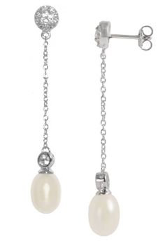 """Sterling Silver Freshwater Cultured Pearl 2"""" with Cubic Zirconia Dangle Earrings"""
